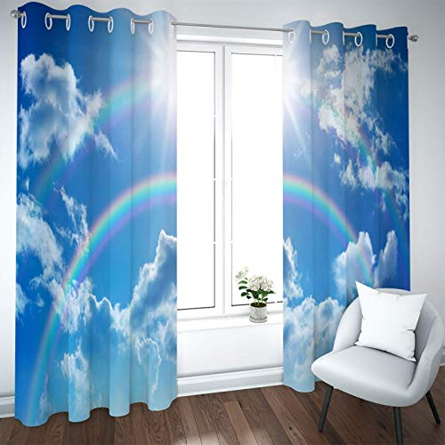 SSHHJ 3D Blackout Curtains Suitable For Curtains For Kitchen, Bedroom, Balcony 2 Pieces Of Rod Installation