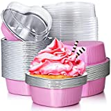 Aluminum Foil Cake Pan Heart Shaped Cupcake Cup with Lids 100 ml/ 3.4 Ounces Disposable Mini Cupcake Cup Flan Baking Cups for Valentine Mother's Day Wedding Christmas Birthday (Pink,40 Sets)