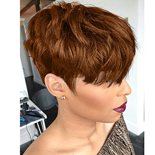 Yviann Pixie Cut Human Hair Wigs with Bangs Ombre Brown Color Wigs Cute Brazilian Short Blonde Layered Wavy Wigs for Women 1B/33 Color
