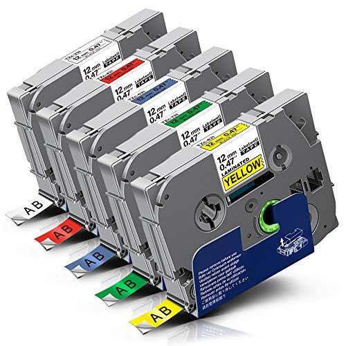 5x Labelwell 12mm 0.47 Kompatibel Schriftband Ersatz für Brother Tze-231 Tze-431 Tze-531 Tze-631 Tze-731 für Brother P-Touch Cube Plus PT D400 H105WB D210 D400VP H110 D210VP H105 D600VP H107B H100LB