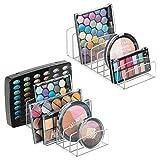 mDesign Juego de 2 organizadores de cosméticos de plástico – Bandeja de maquillaje con 9 compartimentos – Organizador de maquillaje vertical para lavabo, tocador o armario – transparente