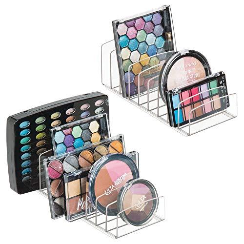 mDesign 2er-Set Kosmetik Organizer aus Kunststoff – Schminkaufbewahrung mit 9 Steckplätzen – Aufbewahrungsbox für den Waschtisch, Schminktisch oder Schrank – durchsichtig