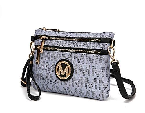 MKF 2 in 1 Crossbody Bags for Women, Wristlet Purse - Ladys Small PU Leather Messenger Handbag - Adjustable Strap Grey