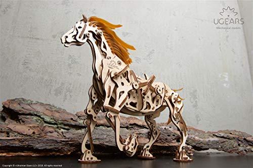 UGEARS 3D Puzzle Pferd Holzpuzzle Modellbau Set Denkspiel - DIY Puzzle Lernspielzeug -Umweltfreundlicher Holz Modellbausatz - Für Erwachsene & Kinder