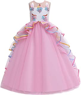 Best Gift Kids Dresses For Girls Unicorn Party Princess Dress Child Carnival Costume Flower Girls Wedding Dress Teenage fantasia infantile 4-14 years