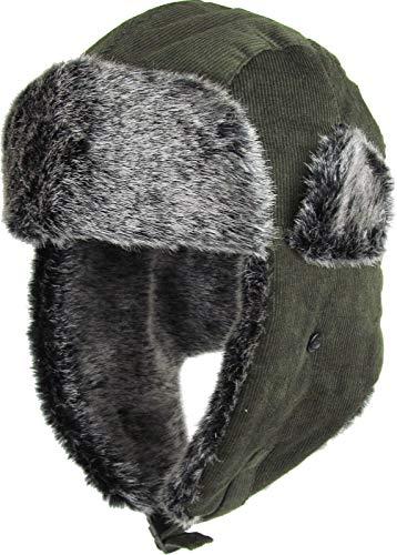 %55 OFF! Olive Corduroy Trapper Hat Winter Cap Ski Warm Fur Cap