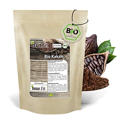 nur.fit by Nurafit BIO Kakaopulver 1kg – rein natürliches Kakao-Pulver aus Kakaobohnen ohne Zusatzstoffe – stark entöltes Pulver aus Kakao in Rohkostqualität mit 11% Fett – veganes Superfood