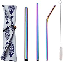 3pcs Colorful Reusable Drinking Straw Set 304 Stainless Steel Metal Straw with Brush