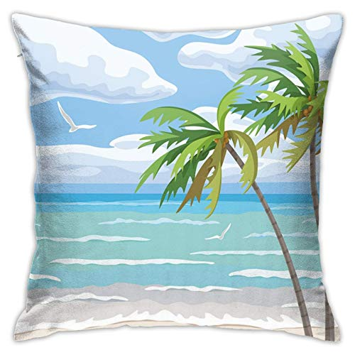 DHNKW Throw Pillow Case Cushion Cover,Summer Coast In The Wind with Palm Trees Cloudy Sky and Flying Seagull Image ,18x18 Inches