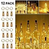 [12 pièces] LED Bouteille Guirlande, solawill Lampes de Bouteille 2m 20 LED Bouchon Étanche Fil de Cuivre Alimentée par Pile...