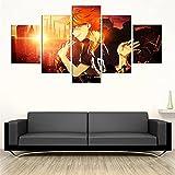 IKLOP 5 Piezas De Lienzo Anime Haikyu !! Cuadros XXL Lienzos Decorativos Grandes Modernos Mural Fotos para Salon Dormitorio Baño Comedor Aniversario 150X80Cm