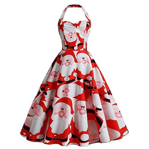 Reooly Vestido de Navidad de Cuello Colgante para Mujer Vestido de Noche con Cremallera Estampado Retro de Santa Claus