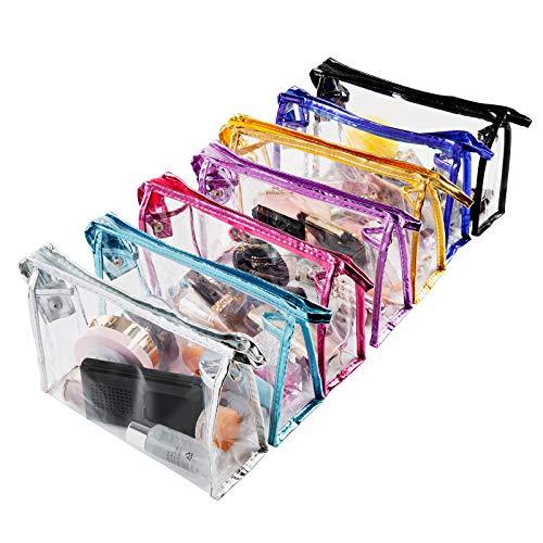 Bolsas de Aseo Transparente, Comius Sharp 7 Piezas Bolsa de Maquillaje para Viajes Bolsa de Cosmética Transparente de PVC Portátil para Vacaciones, Viajes, Baño, Prácticos de Moda