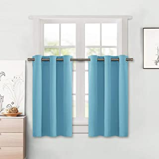 NICETOWN Thermal Insulated Blackout Window Valances - Energy Efficient Home Decor Grommet Top Tier Curtains for Bedroom (42 by 24 + 1.2 inches Header, Teal Blue=Light Blue, 2 Packs)