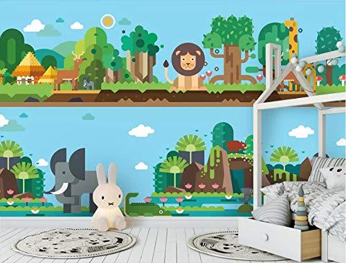"""AJ WALLPAPER 3D Jungle Tiere WC888 Tapeten Drucken Abziehbild Deko Innen Wandgemälde Selbstklebend Tapete DE Kristen (gewebt Papier (Notwendigkeit Leim), 【205""""x114""""】 520x290cm(BxH))"""