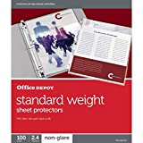 Office Depot 498761 - Protectores de hojas de carga superior, peso estándar, antirreflejos, caja de 100 unidades