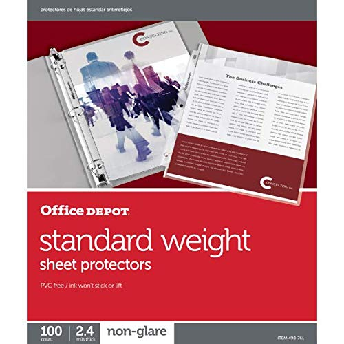 Office Depot Top-Loading Sheet Protectors, Standard Weight, Non-Glare, Box of 100, 498761