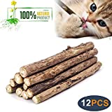 WoLover Natural Silvervine Sticks for Cats, Catnip Sticks Matatabi Chew Sticks Teeth Molar Chew Toys for Cat Kitten Kitty (12 PCS)
