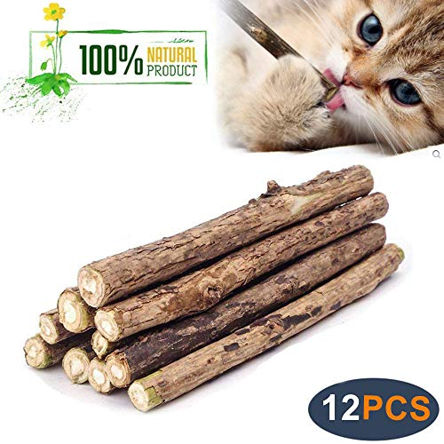WoLover Natural Silvervine Sticks for Cats Catnip Sticks Matatabi Chew Sticks Teeth Molar Chew Toys for Cat Kitten Kitty 12 PCS