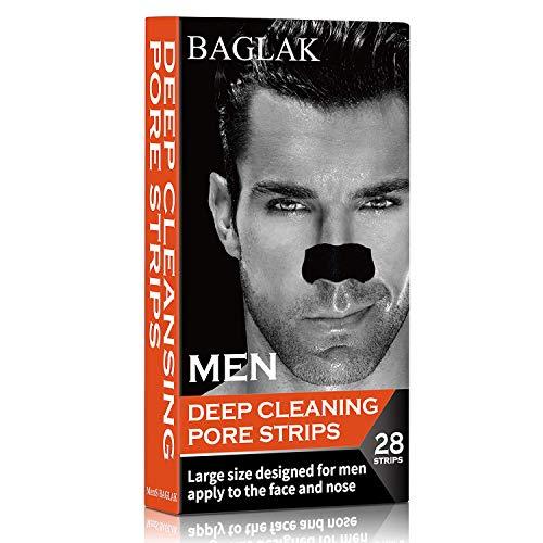 BAGLAK Blackhead Remover Pore Strips , 28 Men Charcoal Nose Strips for Blackhead Removal Oily Skin