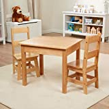 Melissa & Doug Solid Wood Table & Chairs (Kids Furniture, Sturdy...
