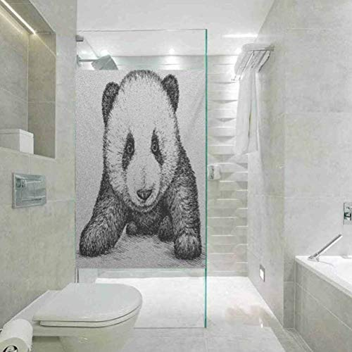 Window Film Stained Glass Stickers, Panda Baby Panda Bear Illustration Sketch Style Artwork Nature W, Easy to Install and Reuse Glass Film, 17.7'x78.7'
