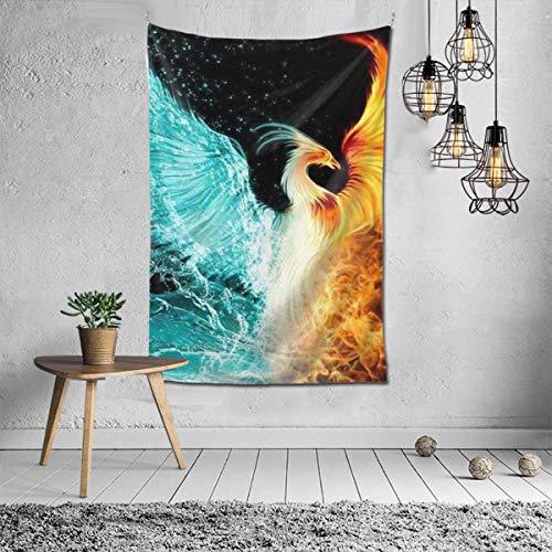 N\A Indian-Hippie-Gypsy Bohemian-Ice Water Fire Flame Phoenix Bird Art Tapiz para Colgar en la Pared-Multicolor Mandala Grande Tapiz Hippie