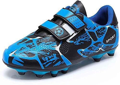 GUFANSI Jungen Fußballschuhe Kinder Halle Fussballschuhe Klettverschluss Fussball Schuhe Outdoor Athletics Trainingsschuhe Laufschuhe Sneaker für Unisex-Kinder Blau 33