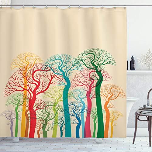 ABAKUHAUS Herbst Duschvorhang, Bunte Abstrakte Bäume, aus Stoff inkl.12 Haken Digitaldruck Farbfest Langhaltig Bakterie Resistent, 175 x 200 cm, Multicolor