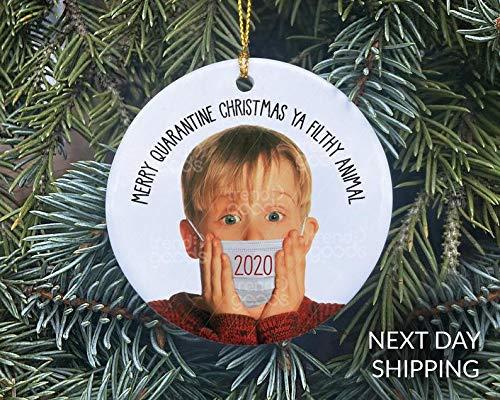 Lplpol Home Alone Face Mask Christmas Ornament Christmas Ornament 2020 Mask Ornament COVID Christmas COVID Ornament Quarantine Ornament Movie