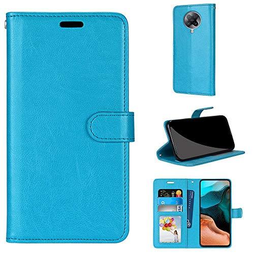 SATURCASE Xiaomi Poco F2 Pro Hülle, Glatt PU Lederhülle Magnetverschluss Brieftasche Kartenfächer Standfunktion Handy Tasche Schutzhülle Handyhülle Hülle für Xiaomi Poco F2 Pro (Blau)
