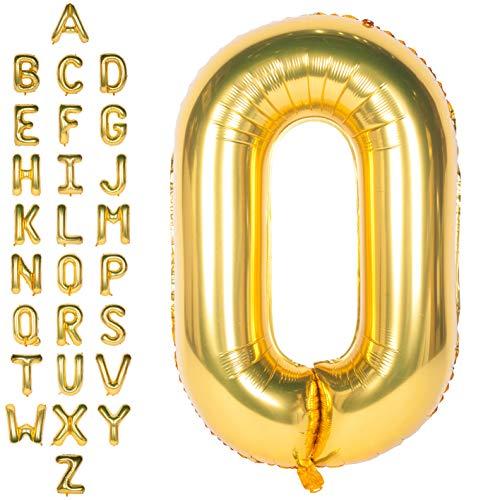 CHANGZHONG Große Mylar Folie Helium Brief Luftballons 40 Zoll Gold Luftballons Alphabet Buchstaben für Geburtstag Brautdusche Jubiläumsdekorationen(Letter O)