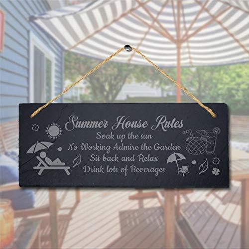 BYRON HOYLE Summer House Rules Soak Up The Laser Hanging Cartello in legno da giardino in legno, 15 x 14 cm, decorazione da parete per interni ed esterni