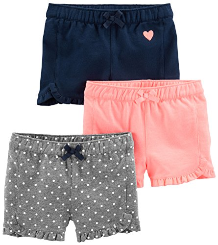 Simple Joys by Carter's Baby Girls' Toddler 3-Pack Knit Shorts, Pink.Gray, Navy, 2T