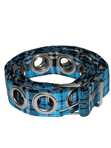 Ceinture avec anneaux bleu/motif tartan
