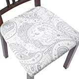 ColorBird Stretch Spandex Printed Chair Seat Covers with Elastic Ties - Removable Universal Anti-Dust Dining Upholstered Chair Seat Cushion Protector Slipcovers for Kitchen Hotel Office (6, Paisley)
