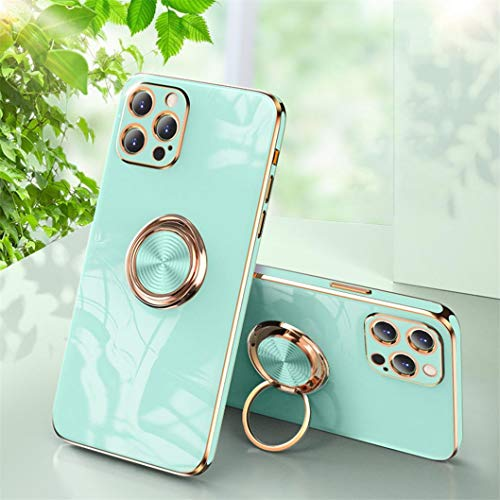 Jacyren Funda para iPhone 12 Pro, funda para iPhone 12 Pro, carcasa de silicona ultrafina con soporte magnético para el coche con soporte de 360 grados para el dedo (7 azul)