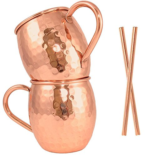 Moscow Mule Copper Mug Set of 2 with Copper Straws by Artisan's Anvil - Handmade Solid 100% Pure Copper Mugs with Hammered Barrel Finish - 16 oz Unlined Drinking Set