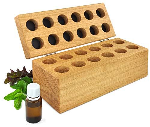 Houten doos voor etherische oliën en globuli eiken massief geolied tegen licht beschermd bewaren voor waardevolle geurolie etherische olie nagellak box organisator display geschenk 12er-Box eiken