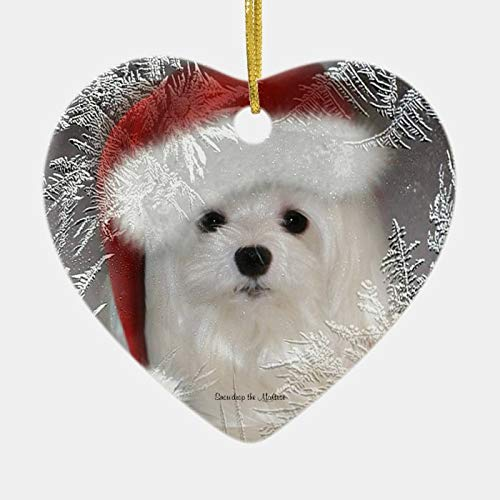 happygoluck1y Snowdrop The Maltese Christmas Ornament,Heart Porcelain Christmas Ornaments,Christmas Tree Decoration Ornaments,2020 Quarantine Gifts,Keepsake Ornaments,for Kids