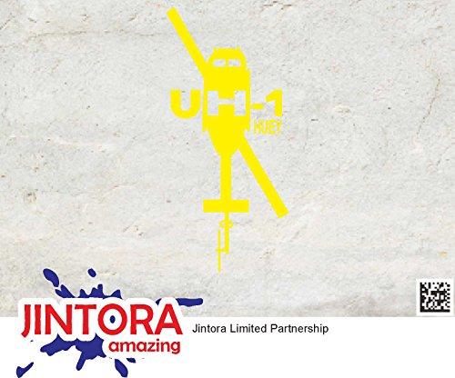 JINTORA sticker voor auto/autostickers - UH-1 Huey - 69x149mm - JDM/Die cut - Bus - Raam - Achterruit - Laptop - vrachtwagen - Tuning geel