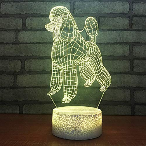KangYD Cute Poodle Dog Decor 3D Night Light, LED Optical Illusion Lamp, A - Touch Black Base(7 Color), Novelty Lamp, Lucky Gift, Bedroom Lamp, Party Gift, Room Decor
