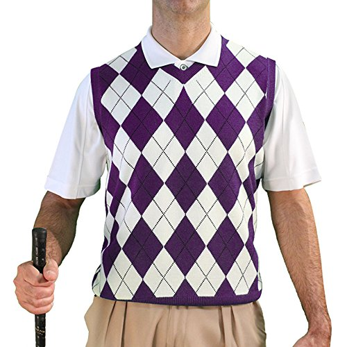 V-Neck Argyle Golf Sweater Vests - GolfKnickers: Mens - Pullover - Purple/White - XL