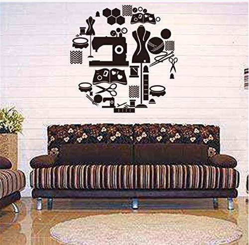 zwyluck Tailor's Shop Vinyltatoeages voor kleding, ramen, glasdecoratie, naaimachine, ijzer, kunst, muurstickers, 56 x 56 cm