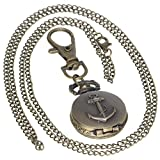 Vintage Brass Antique Anchor Case Pocket Watch 1 PC Necklace 1 PC Key Clip Quartz Pendant Watch Fob...
