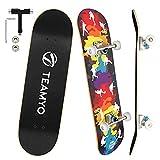 Skateboard Completo, 80 x 20 cm Monopatin Skateboard de Arce 5A de 9 Capas, Diseño Cóncavo de Cola Doble de Skateboard Niño, Adultos y Principiantes
