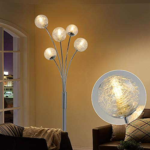 Depuley LED Stehleuchte Wohnzimmer mit Glas Kugel, Modern Stehlampe Schlafzimmer, mit Fußschalter, Augenschutz, 110-240V, Standleuchte 5 Flammig für Büro Esszimmer Restaurant(Ohne Glühbirne)