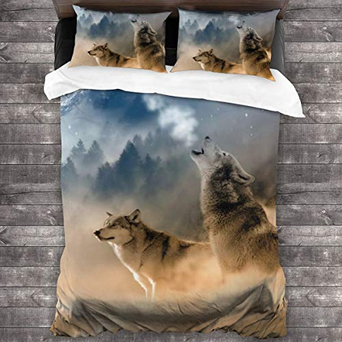 Duvet Cover Set 3 PCS,The Dust Was Flying, A Wolf Leader Howling At The Sky,Bedding Duvet Cover with 2 Pillowcases(Super 220x260cm)