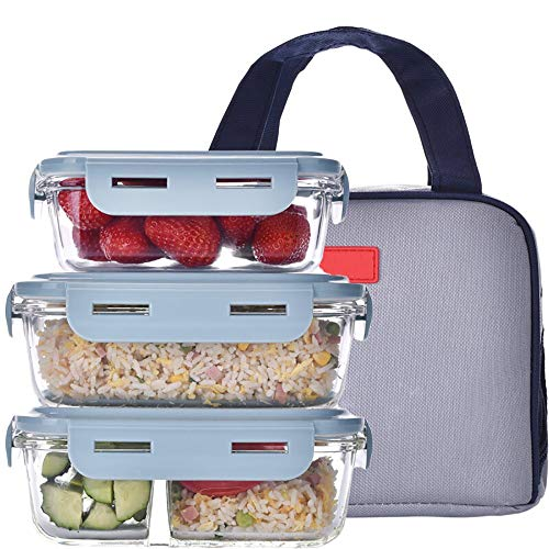 YAUUYA Bento Box Lunch Box Compartiment Glas Lunchbox BPA-Gratis Snap-Lock Deksels Vriezer Oven Magnetron Vaatwasser Veilig Gebruik voor Opslag/Maaltijd Prep Container Met isolatietas