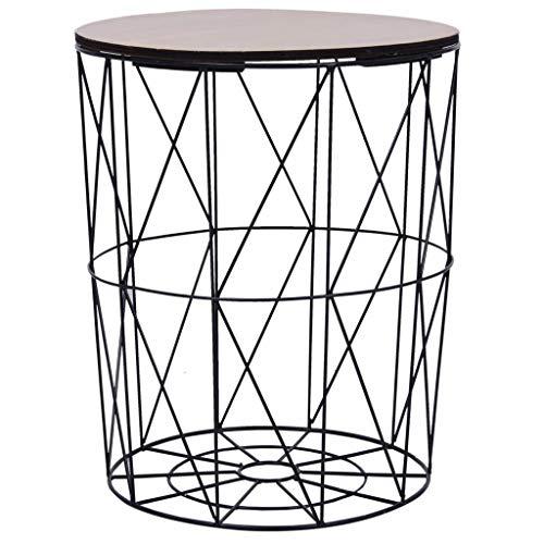 vidaXL Couchtisch Beistelltisch Metallkorb Korbtisch Kaffeetisch Wohnzimmertisch Sofatisch Tisch Aufbewahrungskorb Rund Schwarz Ø47cm